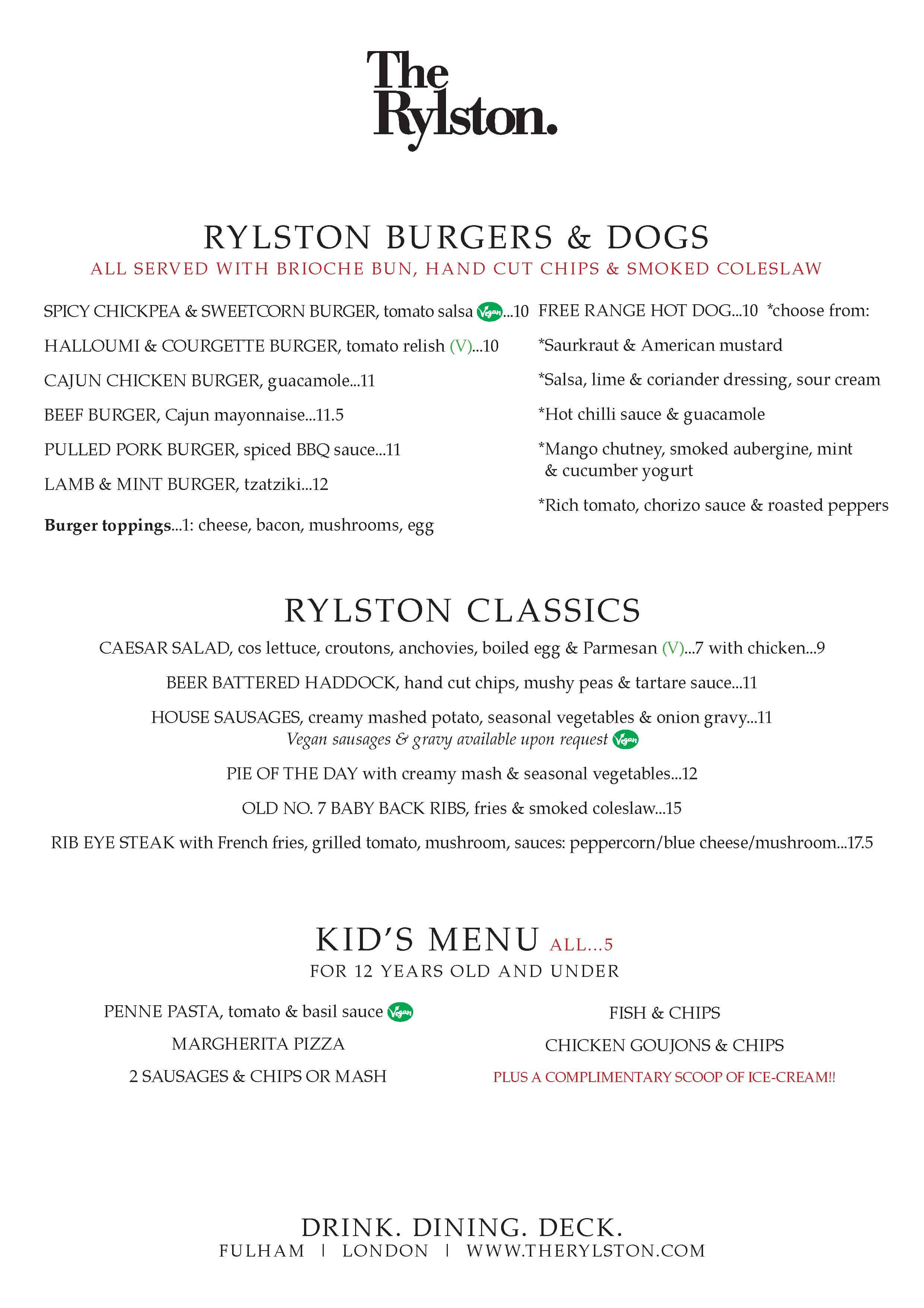 The Rylston Menu March 2017 P2