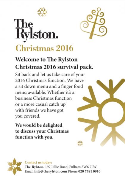 The Rylston Christmas Menu 2016
